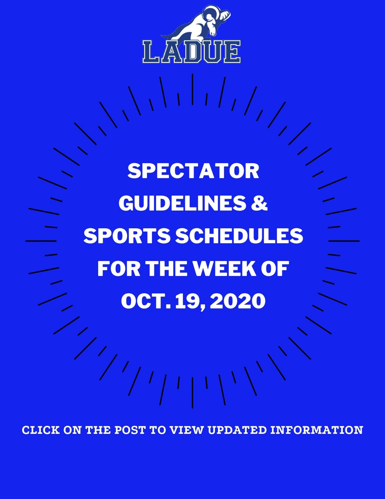 LHWHS Spectator Guidelines and Schedules for the Week of Oct. 19