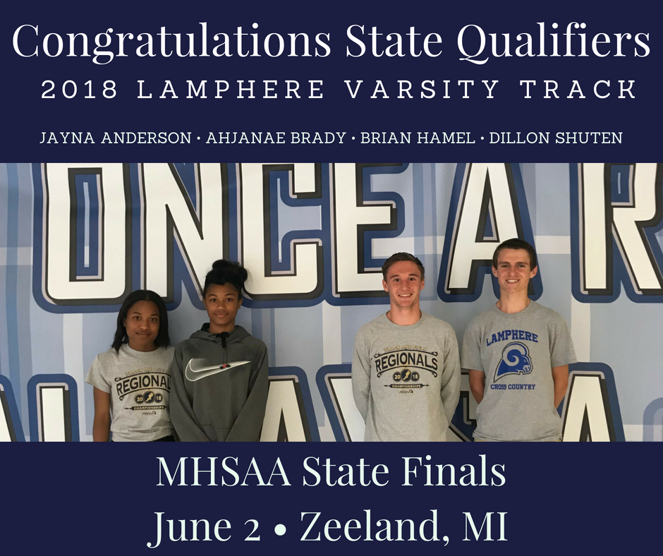 Congrats and Good Luck to our Track State Qualifiers