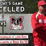 JV/Varsity Baseball vs Montrose Cancelled