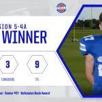 Football: Wil Blackburn honored with region DB Award