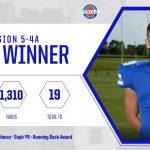 Football: Ranen Blackburn honored with region RB Award