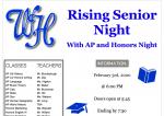 Rising Seniors/AP & Honors Night is Monday, Feb. 3rd