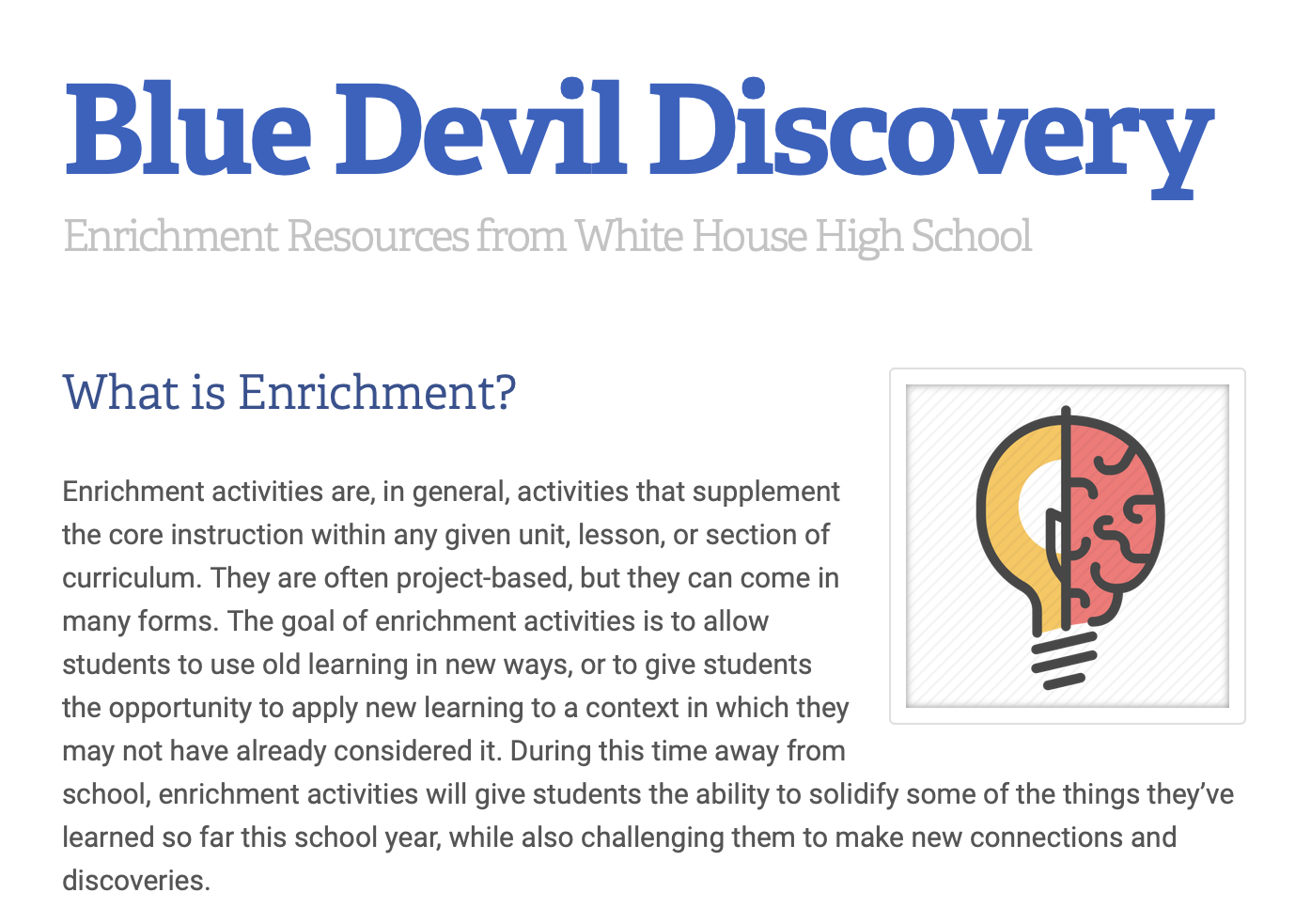 Blue Devil Discovery: What's Happening at WHHS 03.27.20