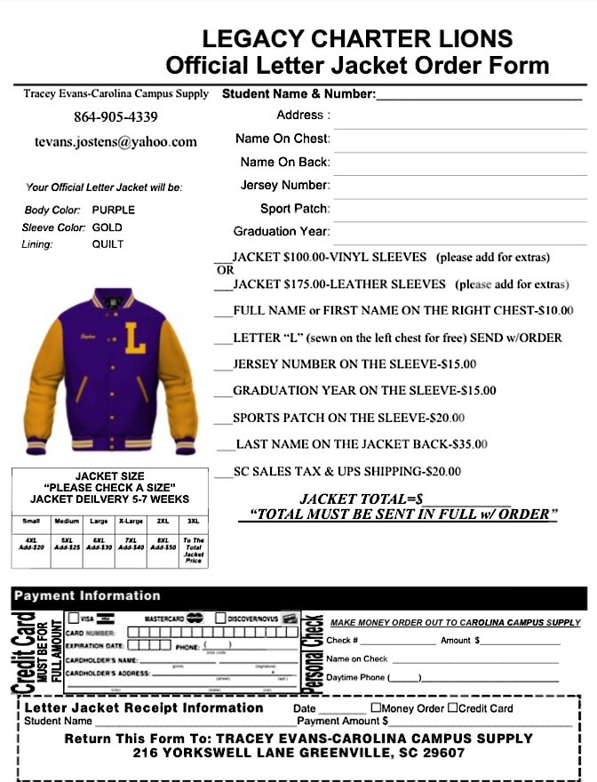 Legacy Early College Official Letterman Jacket Order Form
