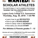 LEGACY ATHLETES WANTED-Thursday August 30, 2018 at 7:30 PM