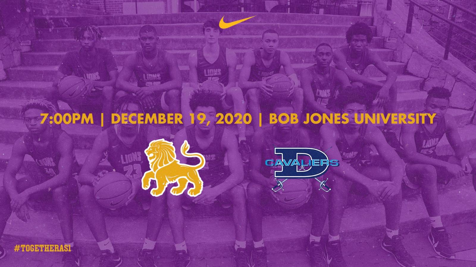 Varsity Boys Basketball vs. Dorman High School moved to Bob Jones University