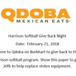 Harrison Softball Qdoba Fundraiser this Wednesday