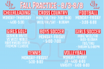 Fall Practice Schedule | August 3-8