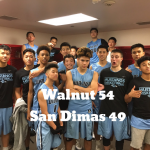 Walnut High School Boys Varsity Basketball beat San Dimas High School 54-49