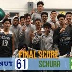 Boys Varsity Basketball beats Schurr 61 – 27