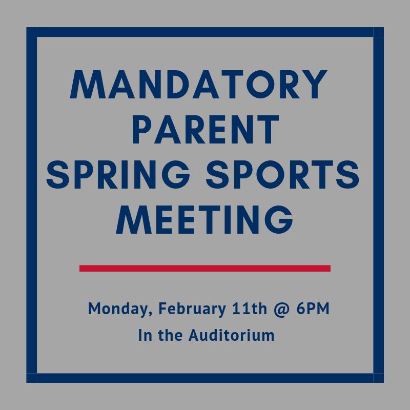 Mandatory Parent Spring Sports Meeting