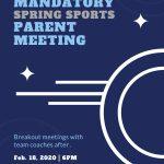 Mandatory Spring Sports Parent meeting