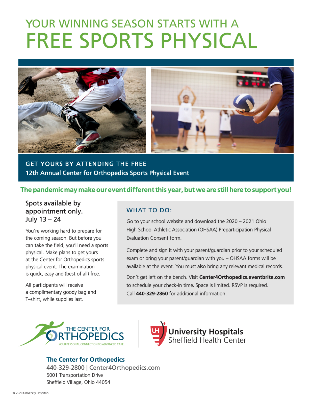 Announcement: New Dates for Free Athletic Physicals