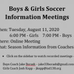 Boys & Girls Soccer Meetings