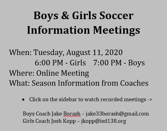 Boys & Girls Soccer Meetings