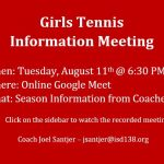 Girls Tennis Meeting