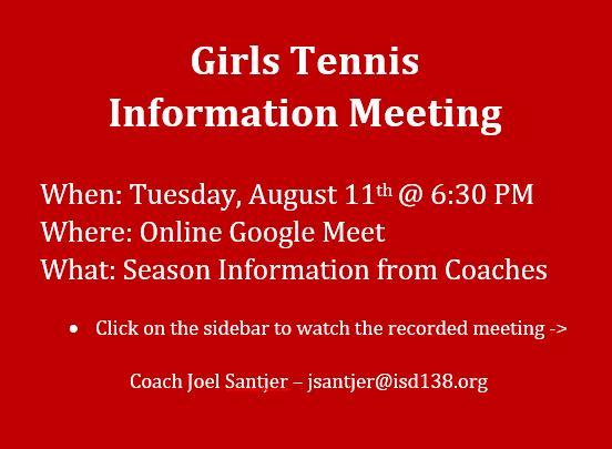 Girls Tennis Meeting