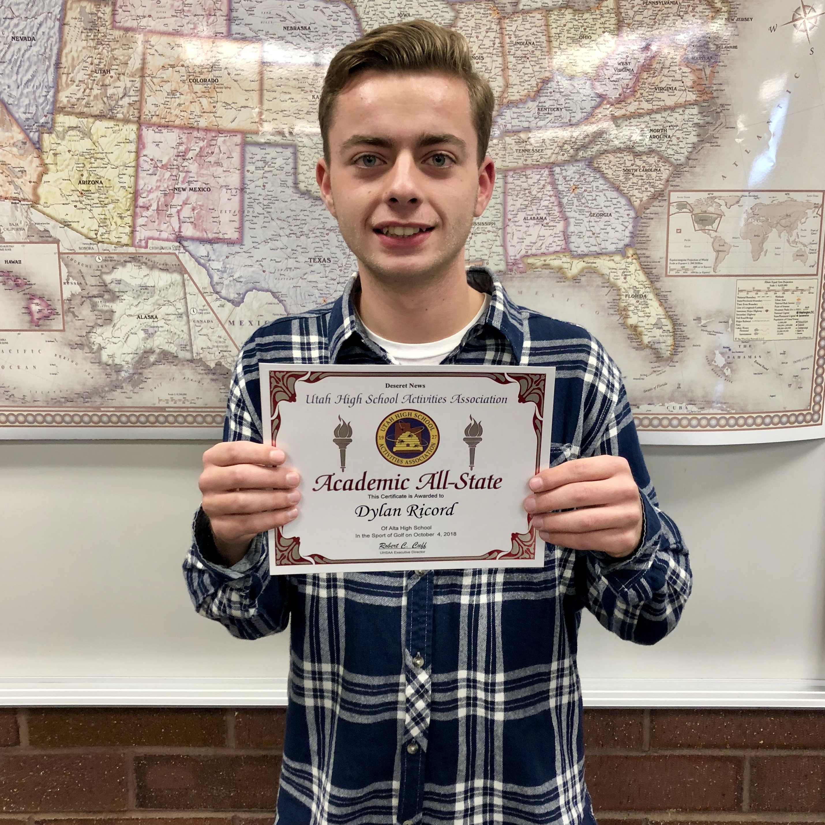 Dylan Ricord, Alta golfer, receives Academic All-State honors