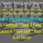 Spring Sports Begin February 24th!
