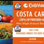 Costa Vida Baseball Spirit Night, Thursday, March 5th – 5:00 pm to 9:00 pm