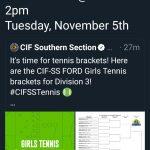 Girls Tennis CIF Playoffs 1st Round Tuesday November 5th