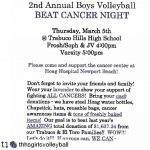 Boys Volleyball 2nd Annual Beat Cancer Game Thursday 3/5