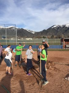 Softball service on the field