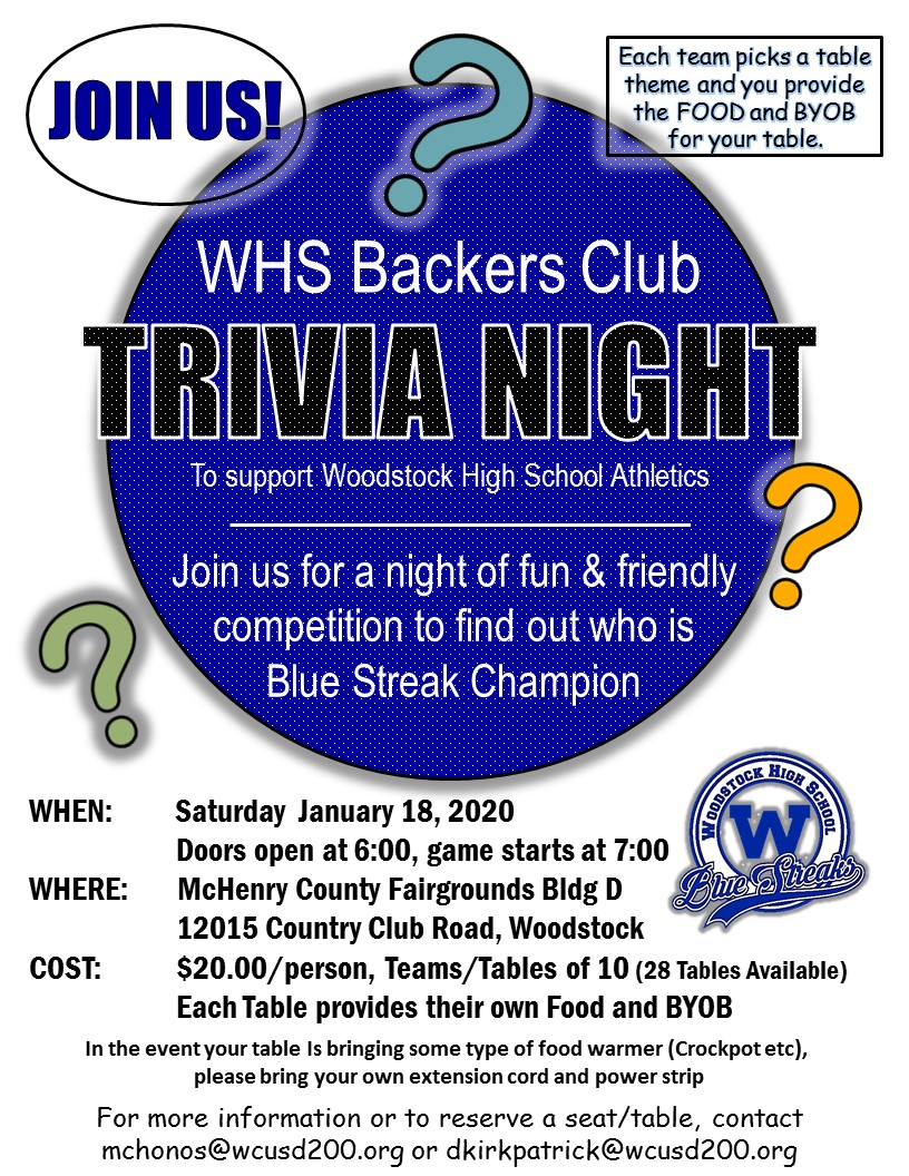 WHS Backers Trivia Night