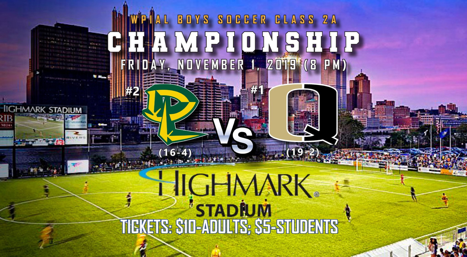 Boys Soccer WPIAL 2A Championship Game is set for Friday, November 1 at 8 PM @ Highmark Stadium