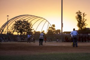 A softball game.