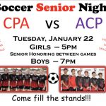 Soccer Senior Night – Tues, Jan 22