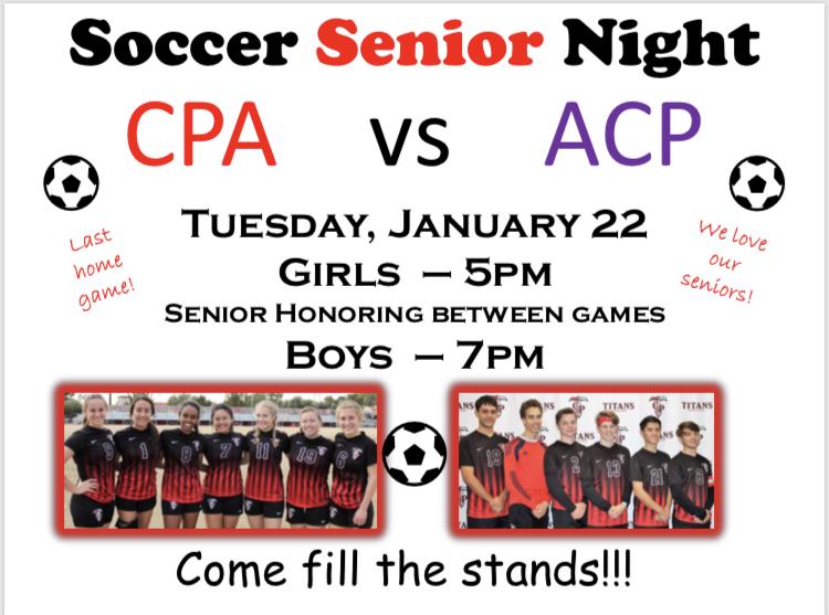 Soccer Senior Night – Tues, Jan 22