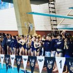 Boys overcome huge deficit to beat Brecksville on final relay.  Girls stay undefeated.