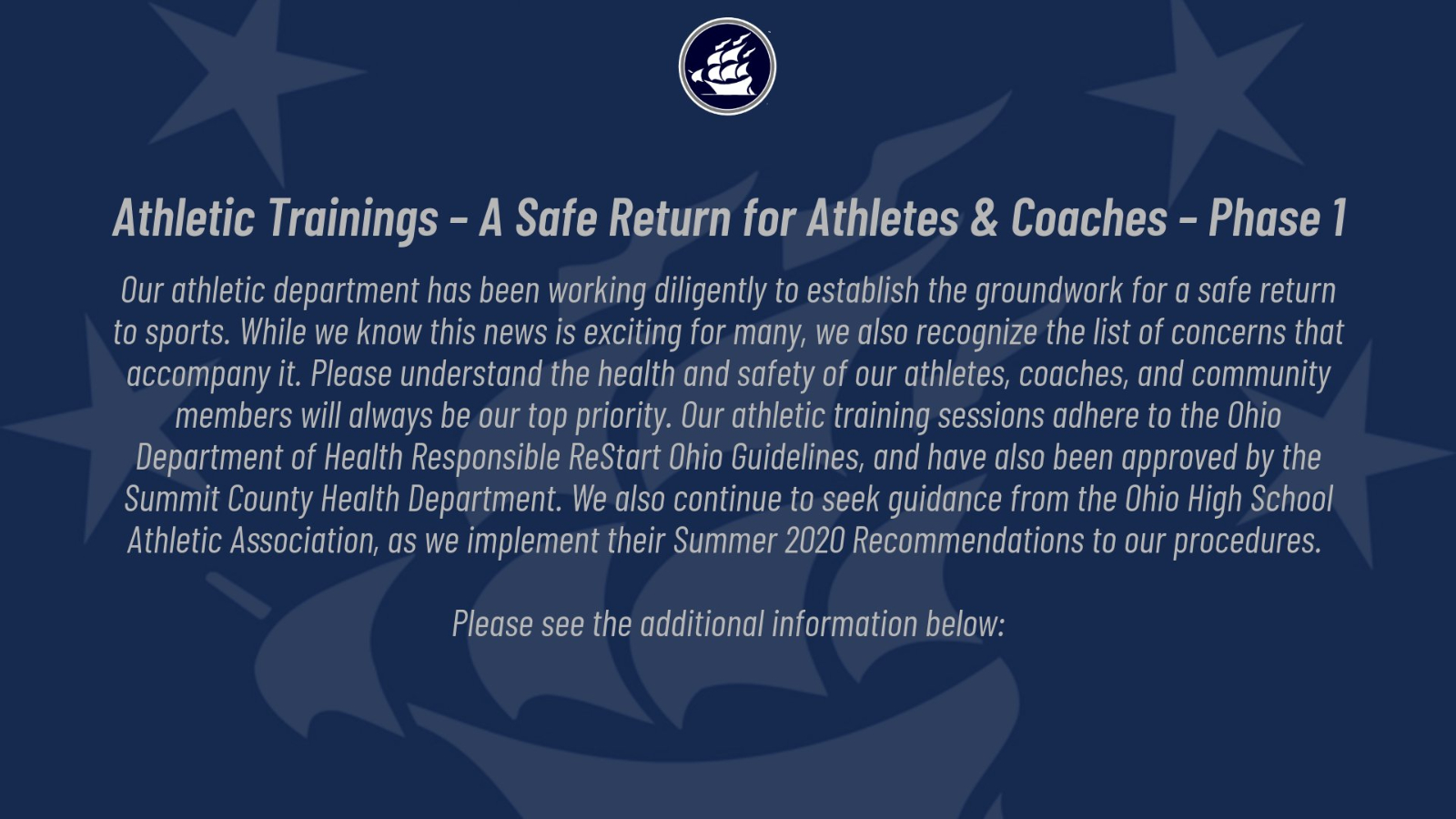 Athletic Trainings – A Safe Return for Athletes & Coaches – Phase 1