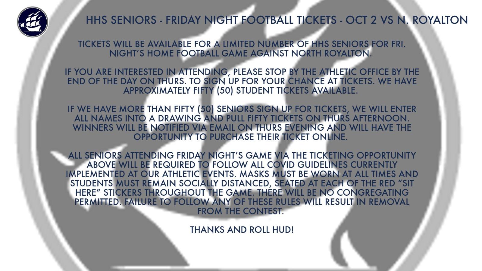 HHS Seniors – Student Football Tickets