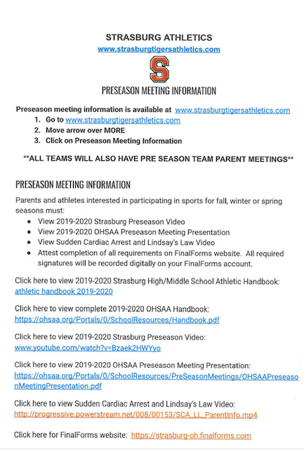 Preseason Meeting Information