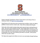 Football Playoff Tickets Information – Ticket Codes sent through FinalForms email accounts