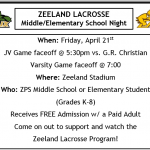 Boys Lacrosse-MS/Elementary Night + Wounded Warrior Fundraiser