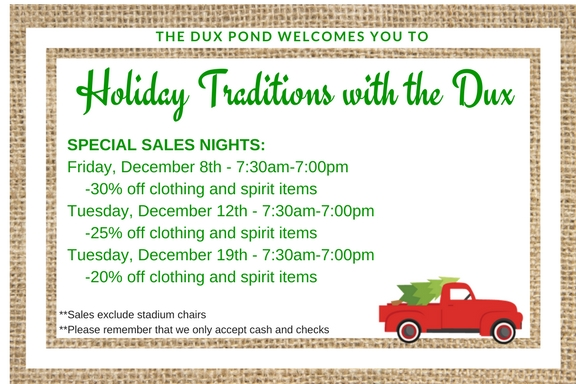 Christmas Shopping at THE DUX POND!
