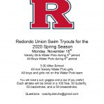 RUHS Swim Tryouts – 2020 Spring Seasson