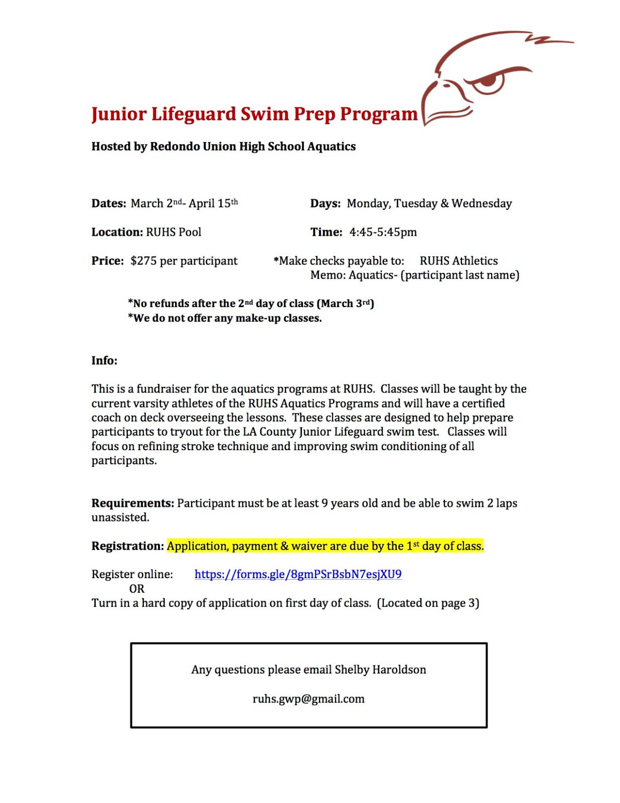 Junior Lifeguard Swim Prep Program