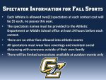 Spectator Information for Fall Sports