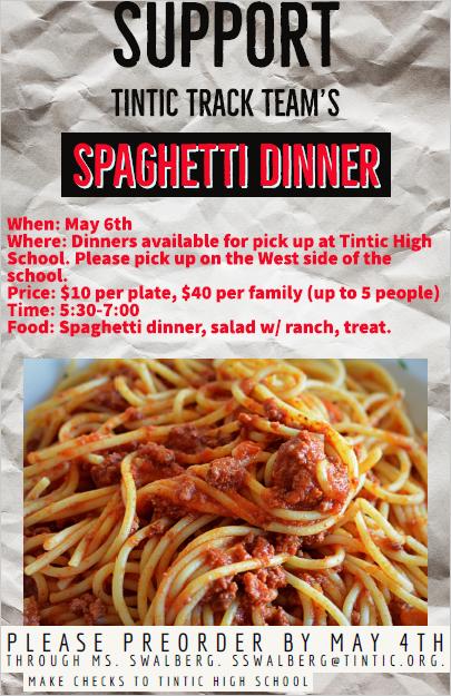 Track Teams Spaghetti Dinner Fundraiser