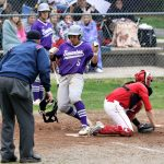 Hunter Mix scores Swanton's first run in game two as the Bulldogs go on to sweep the Patrick Henry Patriots in a double header 7-4 and 7-4.