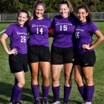 These four Lady Bulldog seniors, Gaby Kosier, Morgan Pine, Grace Oakes and Maya Vargas, played the final regular season home game of their soccer careers and, as they have so often, left the field as winners after a 2-0 victory over Bryan.