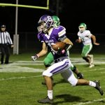 Riley Hensley runs in a two-point conversion to put Swanton ahead 8-0 over Delta.  Riley went on to score two touchdowns and two one-point conversions as the Bulldogs retained the Iron Kettle with a 29-13 win over the Panthers.