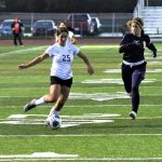 Freshman Alaina Pelland scored the biggest goal of her young career with 6:41 remaining in the second overtime to lift the Lady Bulldogs to a 3-2 victory over the Ottawa-Glandorf Lady Titans in a DIII District semi game.  They will play the Archbold Lady Blue Streaks, a 1-0 overtime winner over the Evergreen Lady Vikings, for the District Championship this Saturday