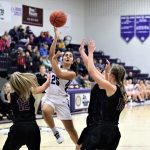 Alaina Pelland drives to the basket in Swanton's 32-15 Junior Varsity win over the Fayette Lady Eagles.