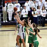 Morgan Pine played a dominating game on both the offensive and defensive boards as the Lady Bulldogs defeated the Delta Lady Panthers 47-45 in overtime.