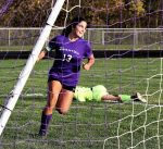 Senior Arika Lutz runs through the opposing crease with a smile on her face after scoring the second of her four goals on the day, leading the Swanton Lady Bulldogs past the Otsego Lady Knights 5-0 in the first round of Sectional play.
